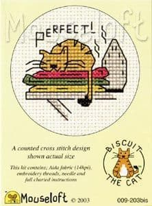 Mouseloft Perfect! (warm ironing) Biscuit the Cat cross stitch kit
